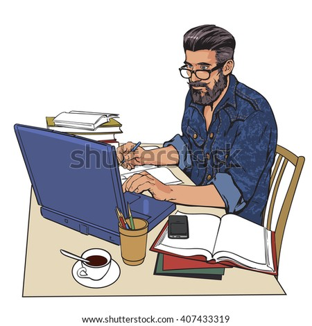hipster man in a jeans jacket sits, table, Writer, journalist, scholar, student write, work in computer. Work on Internet. On table, a lot paperwork. process of study, writer, guy, hipster, studying - stock photo