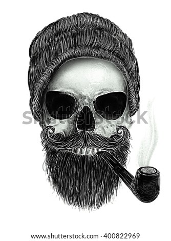 Hipster Man/skull print/Human skull on isolated white background/T-shirt Graphics/