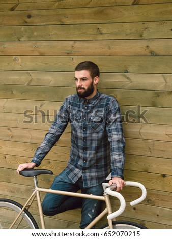 Hipster Man His Fixie Bike On Stock Photo 389077309 Shutterstock