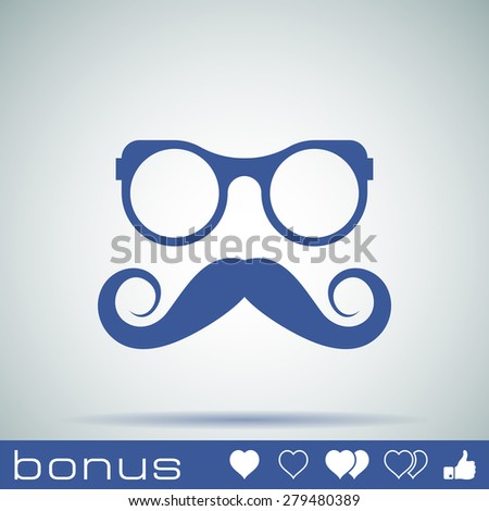 hipster Mustache and Glasses Icon - stock photo