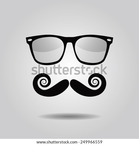 Hipster mustache and sunglasses icons on gray gradient background - stock photo