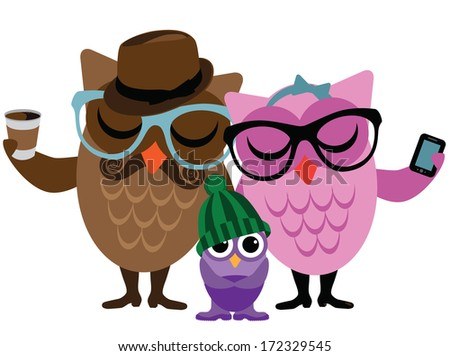 Hipster owl family.  - stock photo