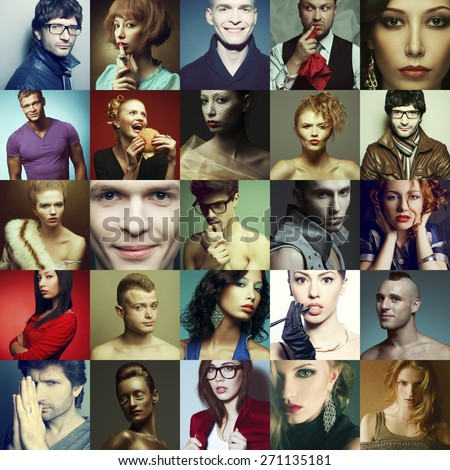 Hipster people concept. Collage (mosaic) of fashionable men, women with stylish accessories, glasses, healthy and unhealthy food, wearing trendy clothes. Close up. Studio shot - stock photo