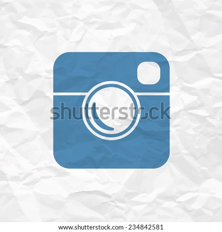 Hipster Photo Icon on Crumpled Paper Texture. Raster version - stock photo