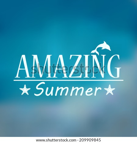 Hipster, retro, abstract, colorful, blurred, defocused summer background with text