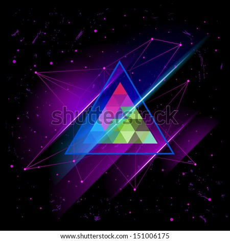 hipster Space triangle mystic galaxy astral triangle.bitmap version  - stock photo
