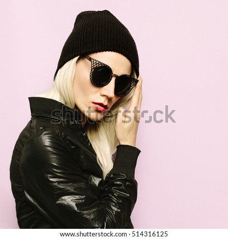 Hipster Style Blonde Girl Swag Black fashion beanie.Glamorous Sunglasses. Season Fall Winter