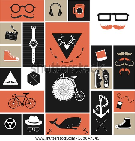 Vintage Hipster Objects Collection Stock Vector 135845264 Shutterstock