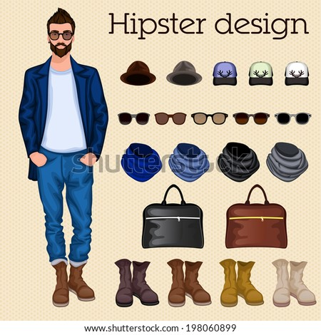 Hipster vintage character pack design elements for male guy with accessory and clothing isolated  illustration - stock photo