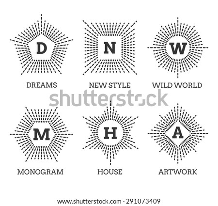 Hipster vintage labels, logo or badges. Shape of star square circle pentagon hexagon - stock photo