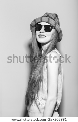 Hipster young woman have fun. black and white image - stock photo