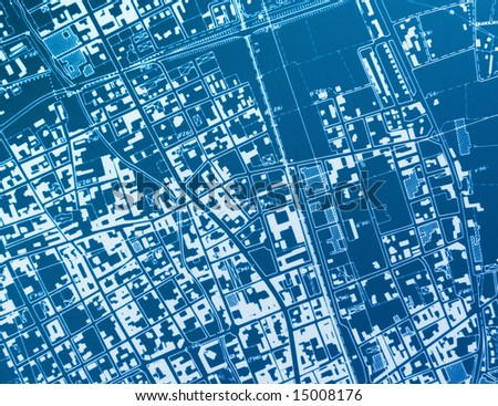 hir res image of town blue print - stock photo
