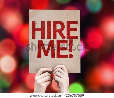 Hire Me card with colorful background with defocused lights - stock photo