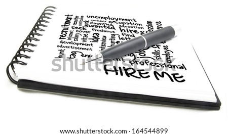 hire me wordcloud notes - stock photo
