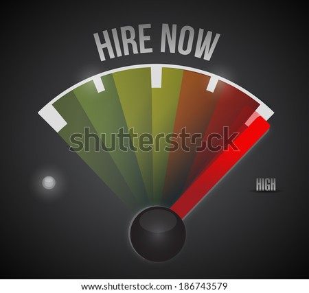 hire now speedometer illustration design over a black background - stock photo