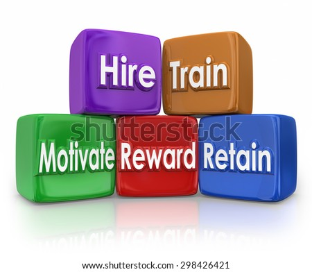 Hire, Train, Motivate, Reward and Retain human resources blocks to illustrate mission or goal of hr team or department in devleoping employees or workforce - stock photo