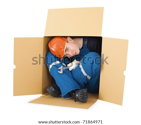 Hired worker arrived from other country - stock photo