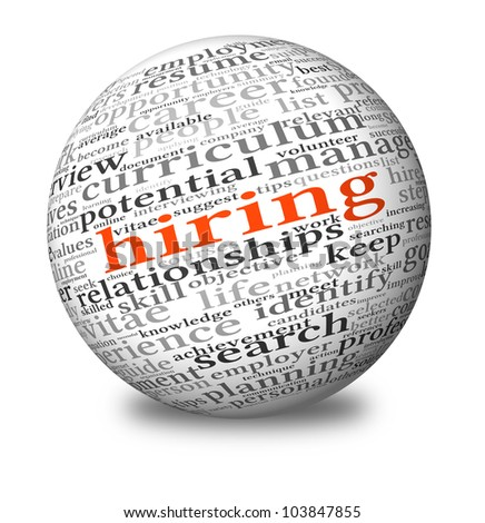 Hiring and job search concept in word tag cloud on 3d sphere - stock photo