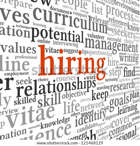 Hiring and job search concept in word tag cloud on white background - stock photo