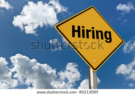 Hiring road sign - stock photo