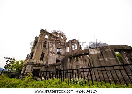 Hiroshima Atom Bomb Dome memorial in Japan  - stock photo