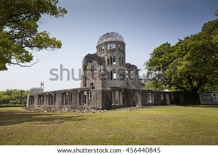 HIROSHIMA, JAPAN- MAY 27:View on the atomic bomb dome in Hiroshima Japan. UNESCO World Heritage Site on May 27,2016 - stock photo