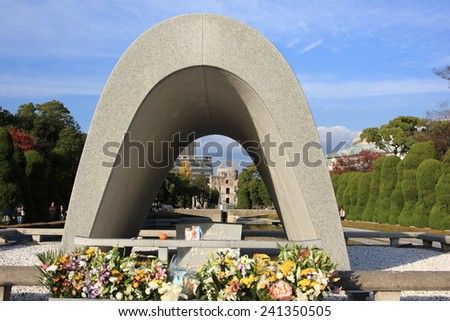 HIROSHIMA, JAPAN - NOVEMBER 22: Flowers are placed at the A-bomb dome monument of Hiroshima Peace Park to commemorate the nuclear attack during WWII on November 22, 2008 in Hiroshima, Japan