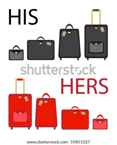 His and hers luggage sets on white background. Also available in vector format - stock photo