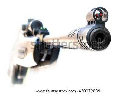 his sights Sniper rifle isolated on white background - stock photo