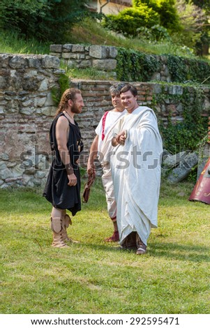 HISARYA, BULGARIA - MAY 30, 2015 - Ancient Festival recreating various episodes of the daily routine of Tracians and Romans. Demonstrations of military tehniques, slave market, ancient martial arts.