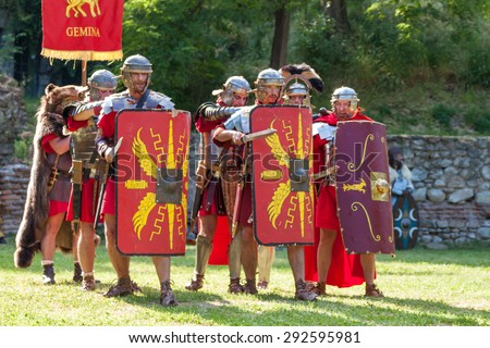 HISARYA, BULGARIA - MAY 30, 2015 - Ancient Festival recreating various episodes of the daily routine of Tracians and Romans. Demonstrations of military techniques, slave market, ancient martial arts.