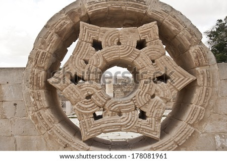 Hisham's Palace in the West Bank city of Jericho. Palestine - stock photo