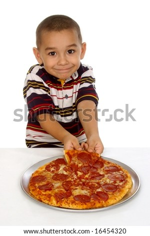 Hispanic boy and pizza - stock photo