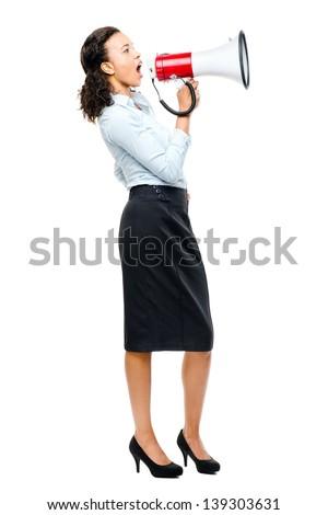 hispanic businesswoman shouting megaphone loud speaker white - stock photo
