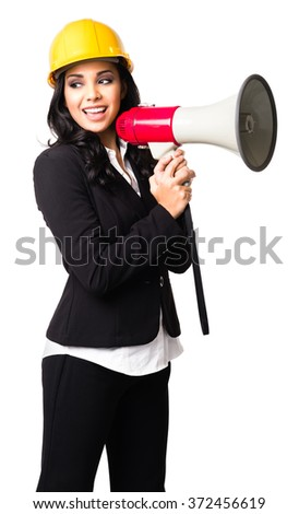 Hispanic  Businesswoman with bullhorn isolated on white background - stock photo
