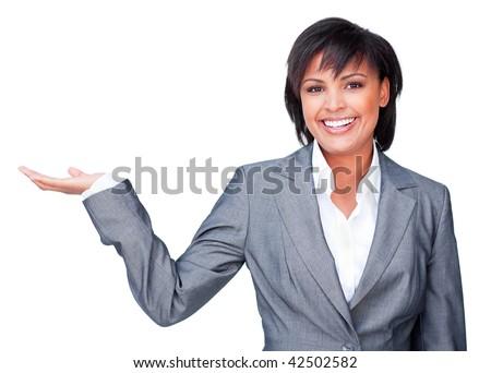 Hispanic businesswoman with open palm smiling at the camera isolated on a white background - stock photo