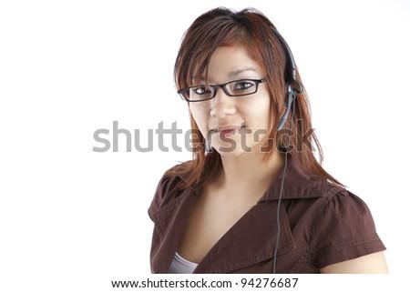 Hispanic Call-center Representative - stock photo