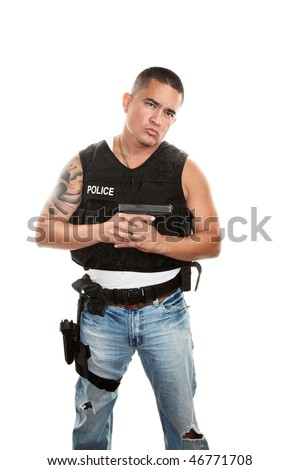 Hispanic cop in plain clothes and bulletproof vest with pistol - stock photo