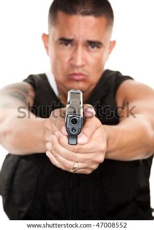Hispanic Cop Pointing Pistol on White Background - stock photo