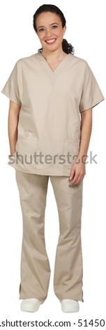 Hispanic female medical professional, in scrubs, smiling with one hand in her pocket.