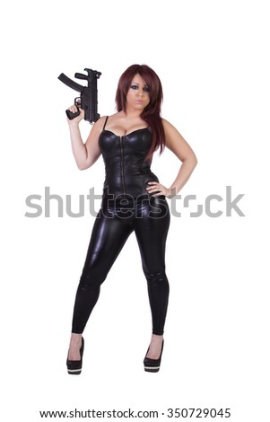 Hispanic girl with guns isolated on white background - stock photo