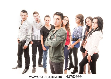 Hispanic group of students standing - stock photo
