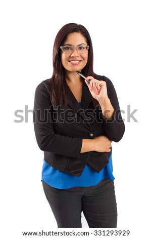 Hispanic happy confident business woman - isolated on white - stock photo