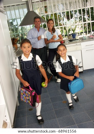 Hispanic little girls going to school.