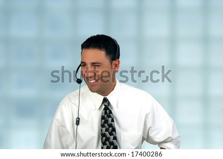 Hispanic male friendly customer service operator - stock photo