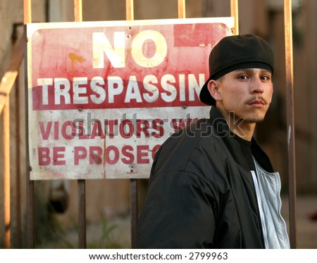 Hispanic Male Gang Stereotype - stock photo