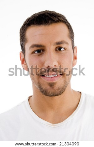 hispanic male looking at camera on an isolated white background - stock photo