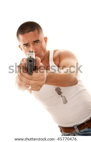 Hispanic man with tattoo aiming small automatic pistol - stock photo