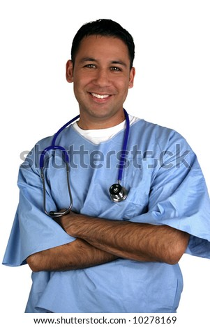 Hispanic medical worker, isolated on white - stock photo