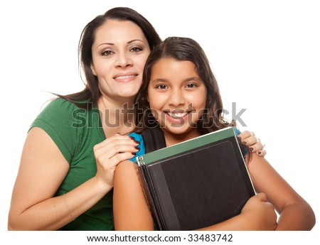 Hispanic Mother and Teen Aged Daughter Ready for School Isolated on a White Background. - stock photo